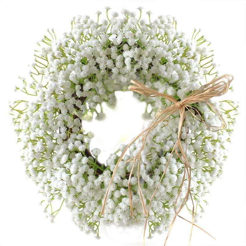 Floral Artificial Babysbreath Wreath Door Hanging Wall Window Decoration Wreath Party Home Holiday Festival Wedding Decor