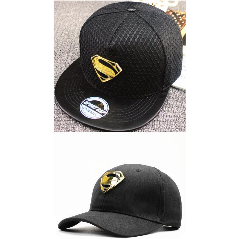 2018 acrylic Cotton metal Superman   Baseball     Cap   hip-hop   cap   Adjustable Snapback   Cap   Hats for kids men women