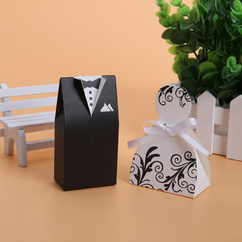 100pcs Wedding Bonbonniere DIY Event Party Supplies Candy Box Bride And Groom Dresses Wedding Candy Box Gifts Favor Box