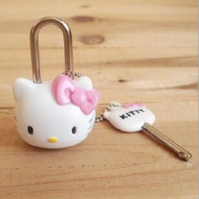 Hello Kitty Mini diary lock.Cartoon small Padlock Drawer Handles Locks for Zipper Bag Backpack Handbag Suitcase Drawer Замок