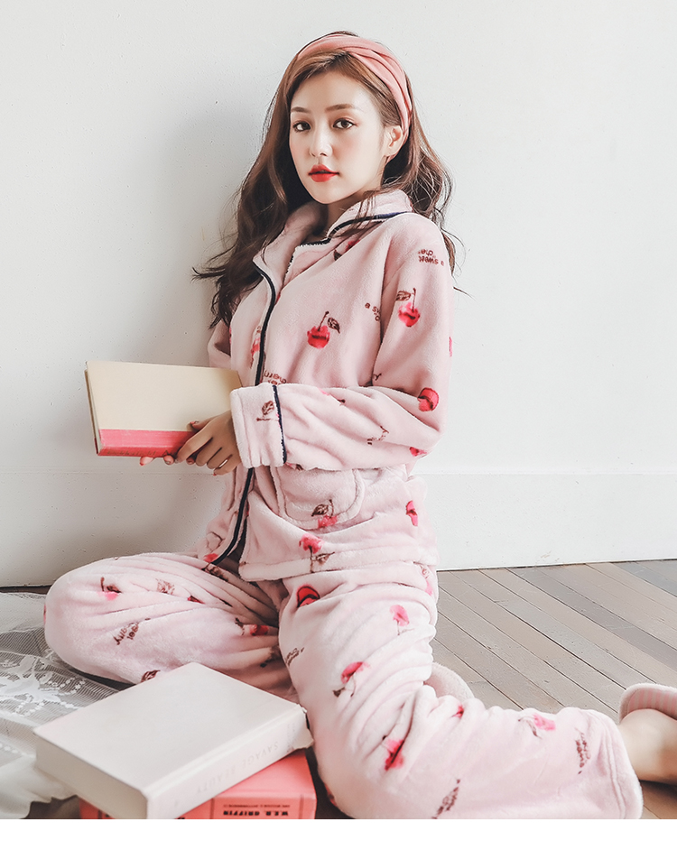 Plus Size 3XL 4XL 5XL Pyjamas women winter new Korean kawaii pink coral fleece warm pajama set thick flannel pijama home service 170