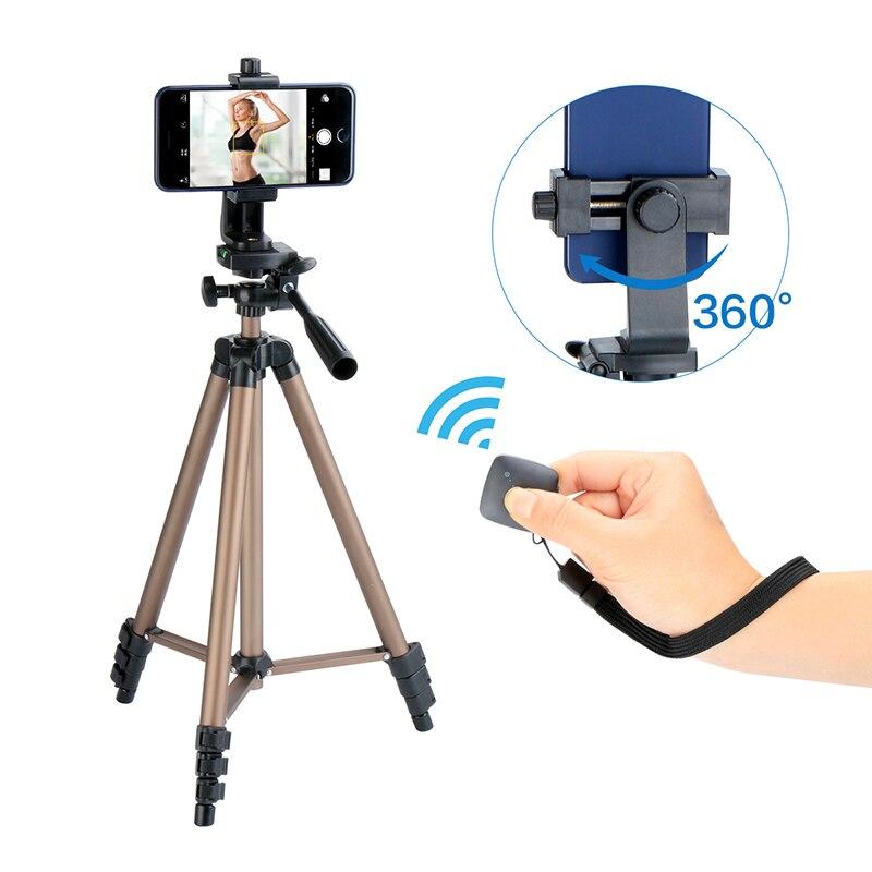 Ulanzi Kit de trépied de voyage léger 49 pouces de haut avec support de trépied de téléphone télécommande Bluetooth pour caméra iPhone Smartphone