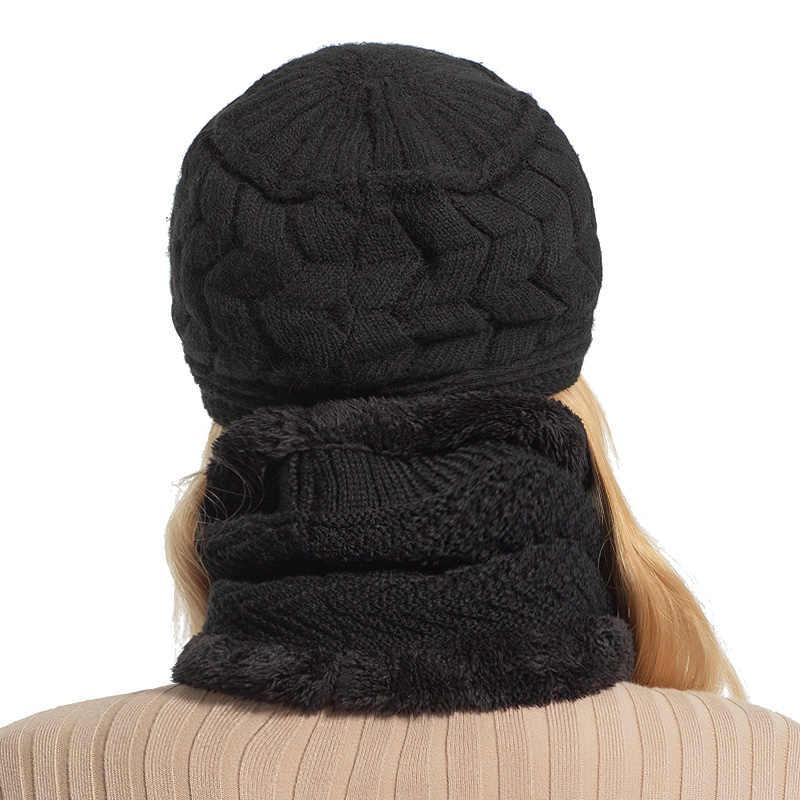 AETRUE Skullies بيني المرأة محبوك قبعة وشاح الإناث الشتاء القبعات للنساء بونيه الصلبة بالاكلافا قناع Feminino قبعة صغيرة قبعة