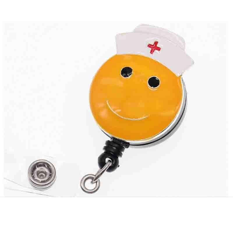 Émail jaune Smiley visage infirmière chapeau rétractable ID Badge titulaire bobine clip pour soins infirmiers médical emjio