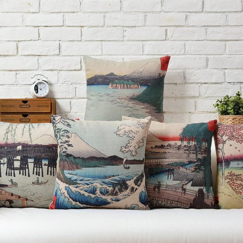 Japan Style Creative Fuji and Sea Wave Cushion Cover Decorative Sofa Throw Pillow Case Car Chair Home Decor Almofadas Cojines
