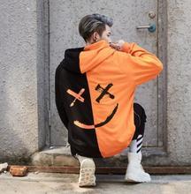 Men Hoodies Sweatshirts Smile Print Headwear Hoodie Hip Hop Streetwear Clothing Us size S-XL us s