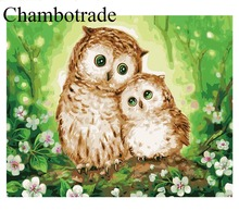 High Quality Abstract Owl Lover DIY Pictures Artwork Number Linen Canvas Painting Acrylicpaint Home Decorative Modern Wall Art