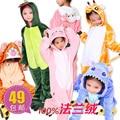 Free Shipping New Fashion Cartoon sleepwear animal one piece lounge children  Sleepwear for autumn and winter & Robe 2-14