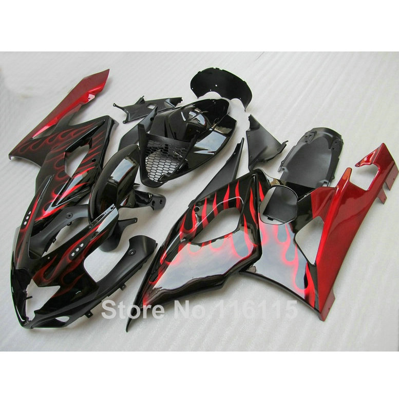 100% new fairing kit fit for SUZUKI Injection molding K5 K6 GSXR 1000 2005 2006 red flames black fairings GSXR1000 05 06 UG29 abs full fairing kit for suzuki injection molding k5 gsxr1000 2005 2006 red flames black fairings set gsxr 1000 05 06 yq67 cowl