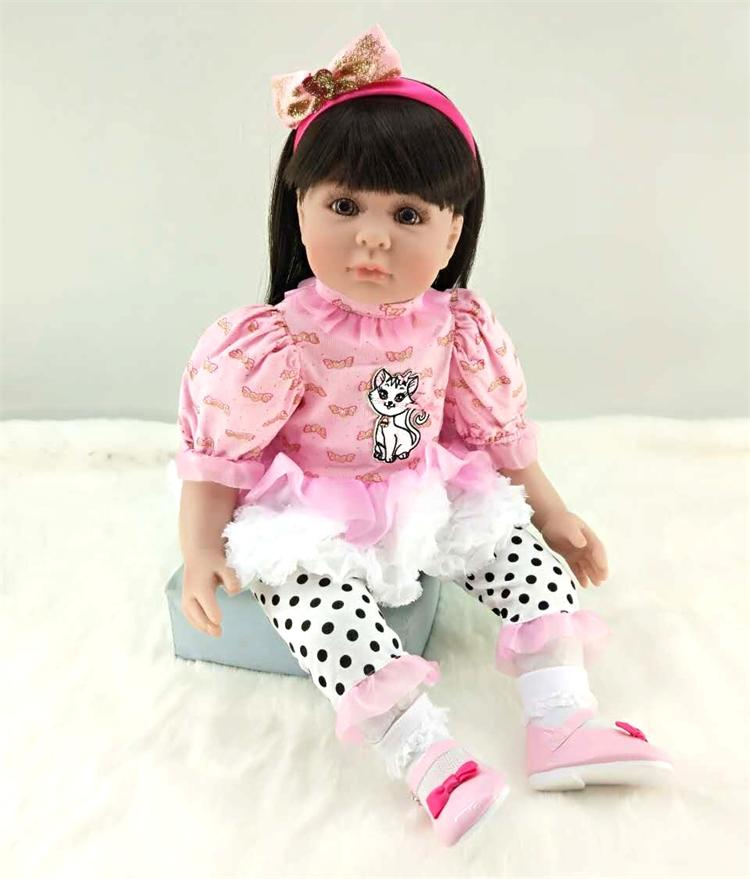 Pursue 24/60 cm Beautiful Silicone Reborn Toddler Princess Girl Baby Doll with Stockings Cotton Body Lifelike Baby Doll Gifts pursue 24 60 cm beautiful smile face reborn silicone toddler princess girl baby alive doll soft cotton body doll for collection