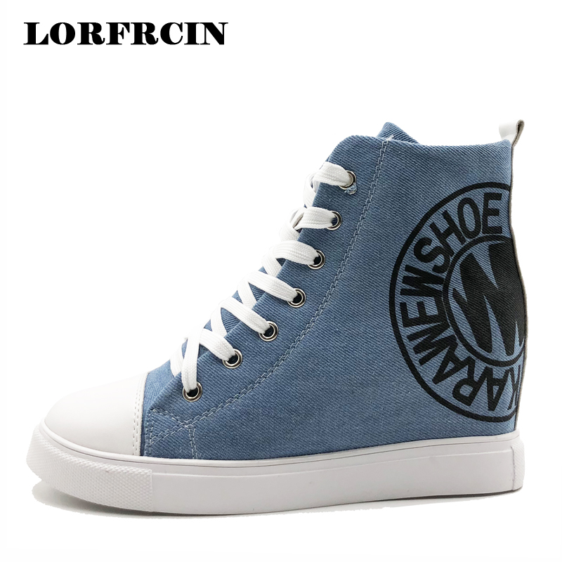 Women Canvas Shoes High Tops Platform Sneakers Increased Internal Summer Shoes Woman Wedges 8cm High Heels For Women LORFRCIN plus size 43 denim canvas shoes woman wedges platform sneakers for women 8cm high heels ladies summer casual shoes 2018 lorfrcin