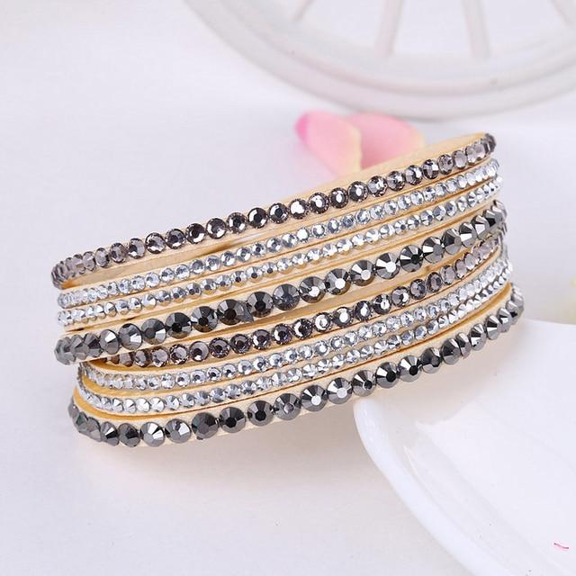 Koreanische Version Leder Armband Strass Kristall Armband Wrap Multilayer Armbänder für frauen feminino pulseras mulher Schmuck