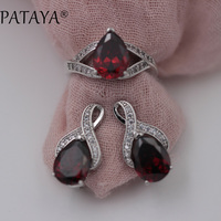 PATAYA New Arrival Pomegranate Red Water Drop Natural Zircon Earrings Ring Sets Women True White Gold