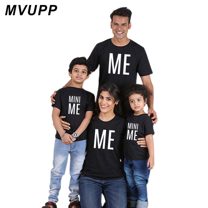 Family Matching Outfit Letter Me Mini Me Father and Son T Shirt Family Look T-shirt Whole Family Dady Mother Kid Cotton Clothes