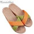Zapatos de Los Hombres de cáñamo Casa Dormitorio Baño antideslizantes Interiores Zapatillas Diapositivas de Interior Para la Primavera Verano de Las Mujeres Pisos Pasoataques marca