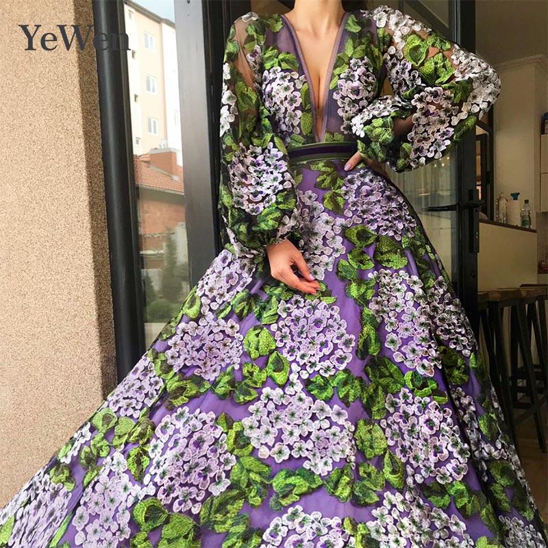 2019 robe de soirée robes de soirée col en v profond robes formelles robe de soirée dentelle Appliques manches longues robes de soirée longues