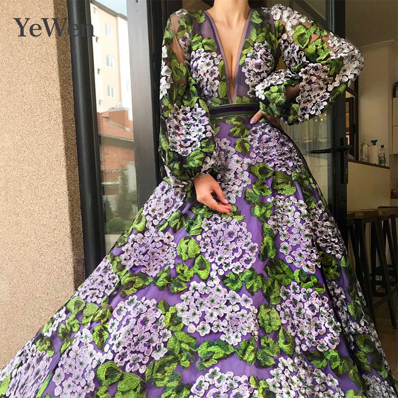 2019   Evening     Dress     Evening     Dresses   Deep V-neck Formal   Dresses     Evening   Gown Lace Appliques Long Sleeve   Evening     Dresses   Long