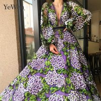 2019 Evening Dress Evening Dresses Deep V neck Formal Dresses Evening Gown Lace Appliques Long Sleeve Evening Dresses Long