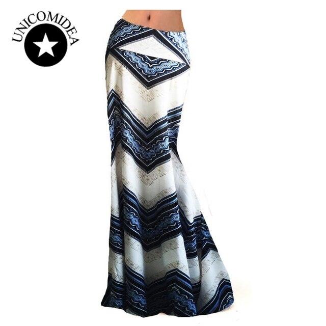 7a5b91241cb 2019 Style européen femmes été Maxi Boho jupe longue longueur haute mince  taille Slim Sexy plage