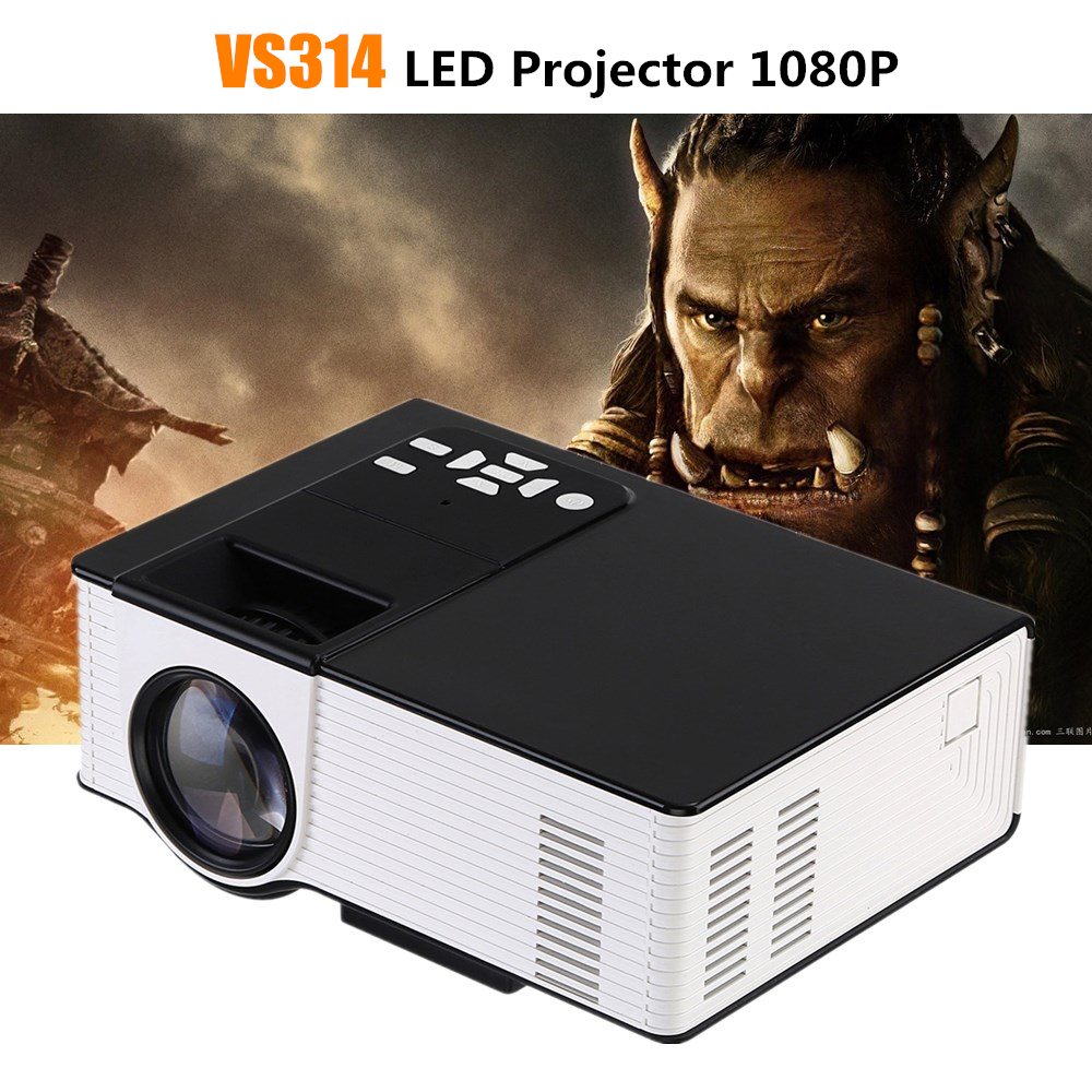 VS314 Mini LED Projector Full HD 1080P 1500 Lumens 800 x 480 Pixels 0.9 -6M Home TV Media Player Portable Home Theater Proyector new arrival gp9s 800lux full hd 1080p home theater led mini portable projector cinema usb tv vga