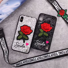3D Rose Flower Case For OPPO F5 A73 A79 A83 A71 Sexy Lace Back Cover for F7 F9 A77 A59 A53 A57 A33 A37 A31 With Lanyard