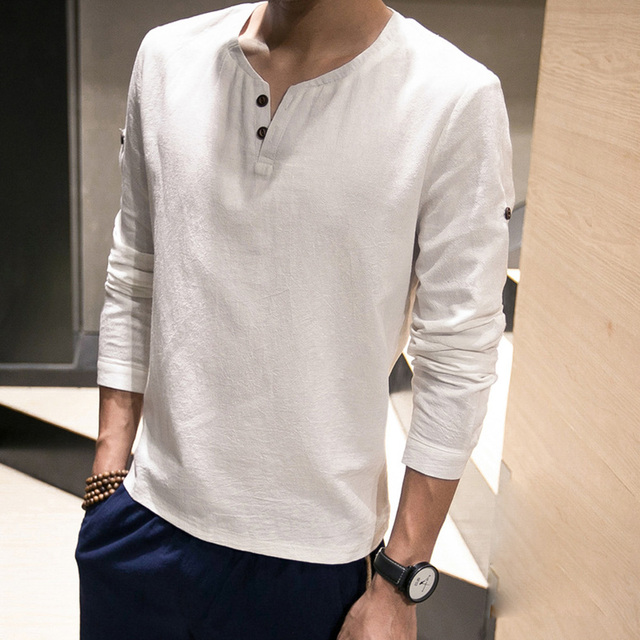 716d52dacd5 2018 Men s New Cloth Summer Tee Linen Shirts Solid Retro Spring Basic Long  Sleeve T Shirt V Neck Male Tops Tee