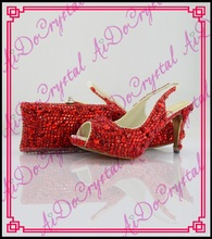 Aidocrystal Hot Selling Rhinestone Woman Evening Shoes And Matching Bag Set Red Peep Toe Slingback Shoes And Bag For Party Size