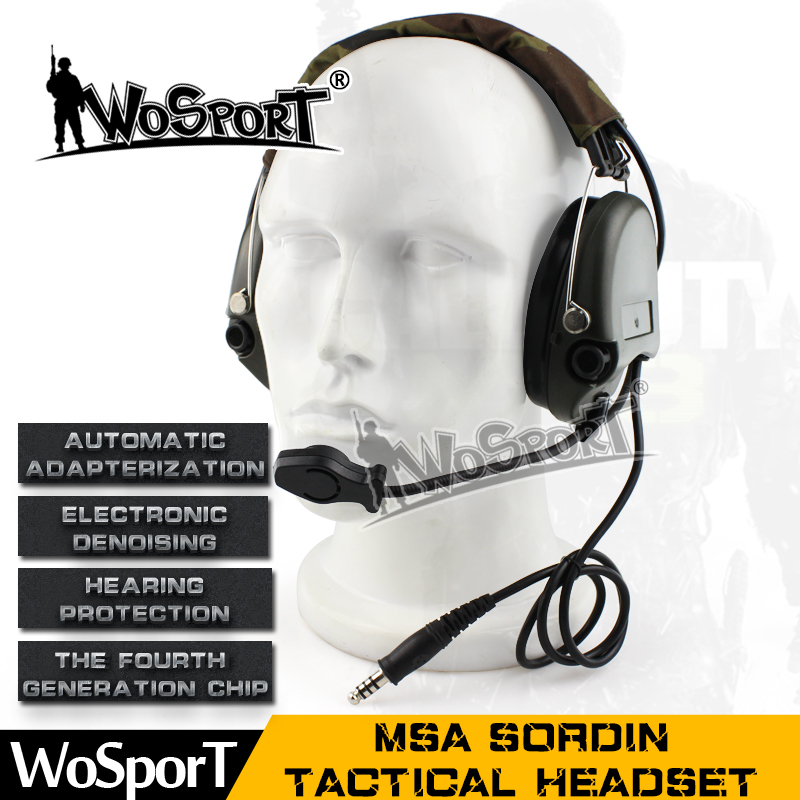 WOSPORT New Tactical Headset SORDIN Noise Reduction Canceling Military Airsoft Paintball Hunting Headphone airsoft adults cs field game skeleton warrior skull paintball mask