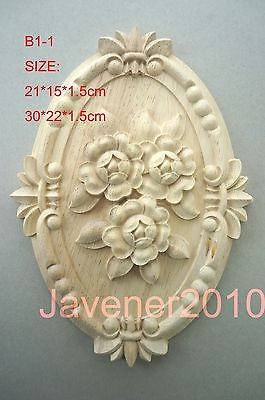 B1-1 -30x22x1.5cm Wood Carved Round Onlay Applique Unpainted Frame Door Decal Working Carpenter Cabinet