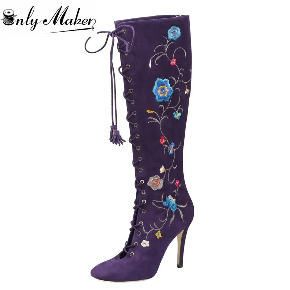 Onlymaker 2017 Womens Purple Front Strap Lace Up Boots Woman Long High Heel Pointed Toe Knee-High boots Shoes Ladies Plus Size15