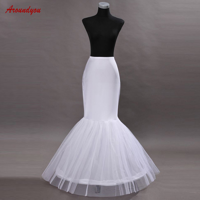 White Bridal Mermaid Petticoat For Wedding Dress Woman Pettycoat Crinoline Underskirt Wedding Hoop Skirt