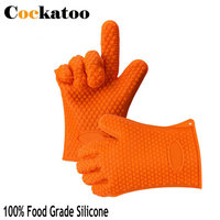 2 Pcs Heat Resistant Silicone BBQ Grill Oven Gloves And Barbecue Mitts For Cooking Smoking Potholder