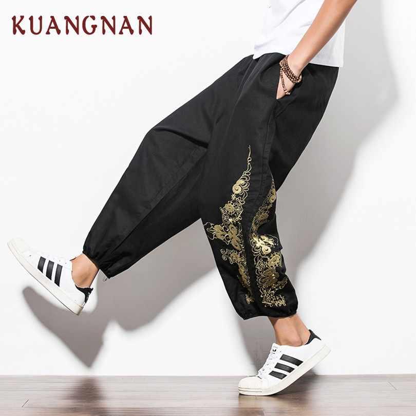 KUANGNAN Китайская вышивка длина по щиколотку штаны для мужчин бега Японская уличная