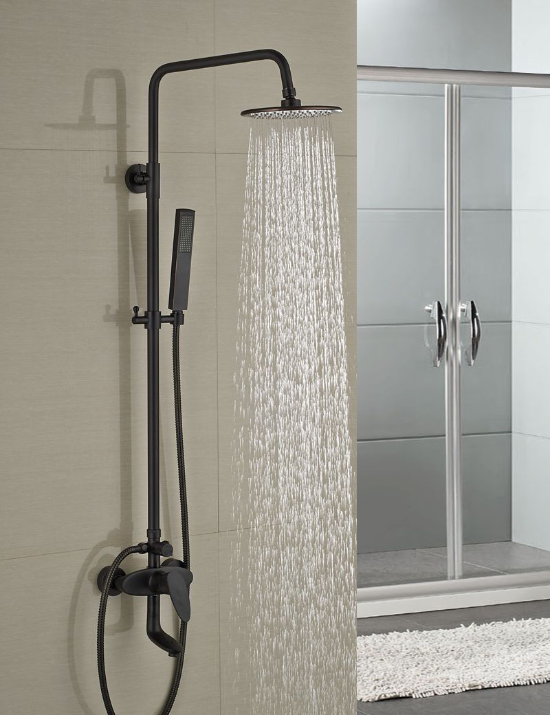Wholesale And Retail Wall Mounted 8 Rain Shower Head Tub Spout Mixer Tap W/ Hand Shower Sprayer Oil Rubbed Bronze