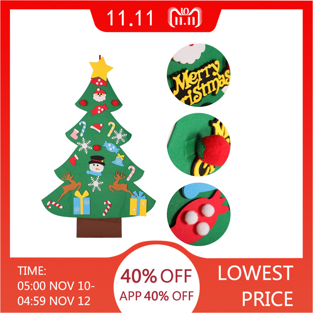 Hot Sale Kid DIY Felt Christmas Tree with Ornaments Children Christmas Gifts for 2018 New Year Door Wall Hanging Xmas Decoration
