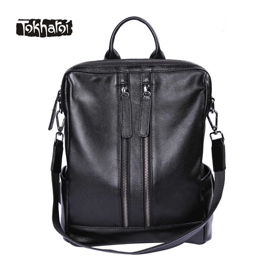 Tokharoi Brand Genuine Leather Women Shoulder Bag Fashion Solid Black Backpacks Two Zipper Pocket Bags High Quality New Design