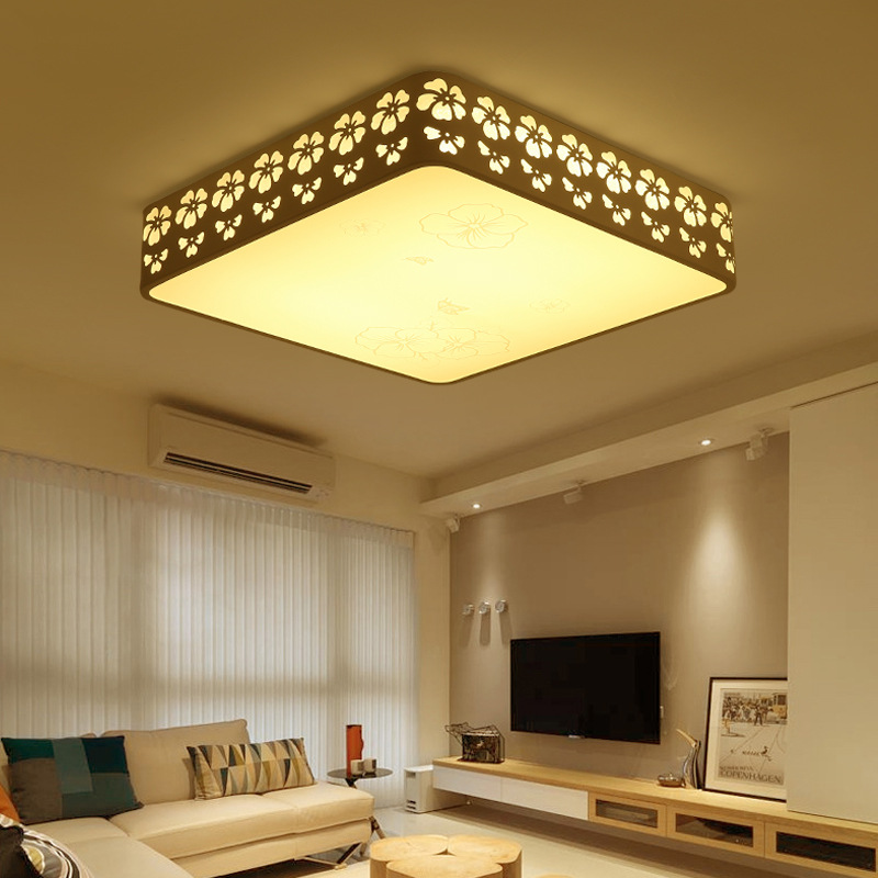 Fashion modern minimalist rectangular living room ceiling lamp home wrought iron led bedroom lace round room Ceiling Lights