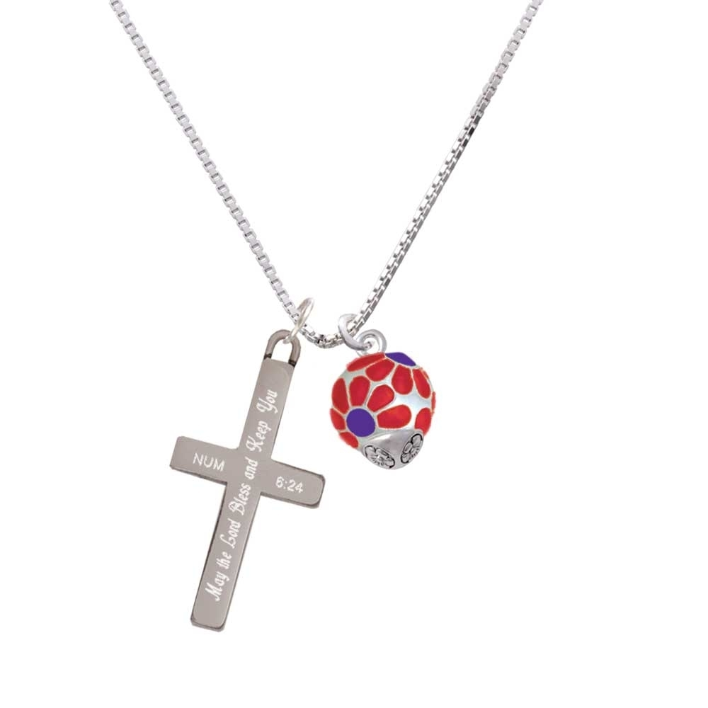 купить Translucent Red Flower Petal Pattern Spinner - Bless and Keep You - Cross Necklace по цене 3496 рублей
