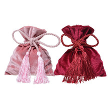 Купить с кэшбэком 12x14CM Velvet Candy Bags Wedding Drawstring Gifts Bag Wedding Party Favors Packaging Jewelry Pouches