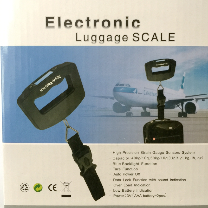 50kg 10g LCD Digital Luggage Belt Scales Handheld Portable Electronic Steelyard Weight Hook Hanging Scale With Strap