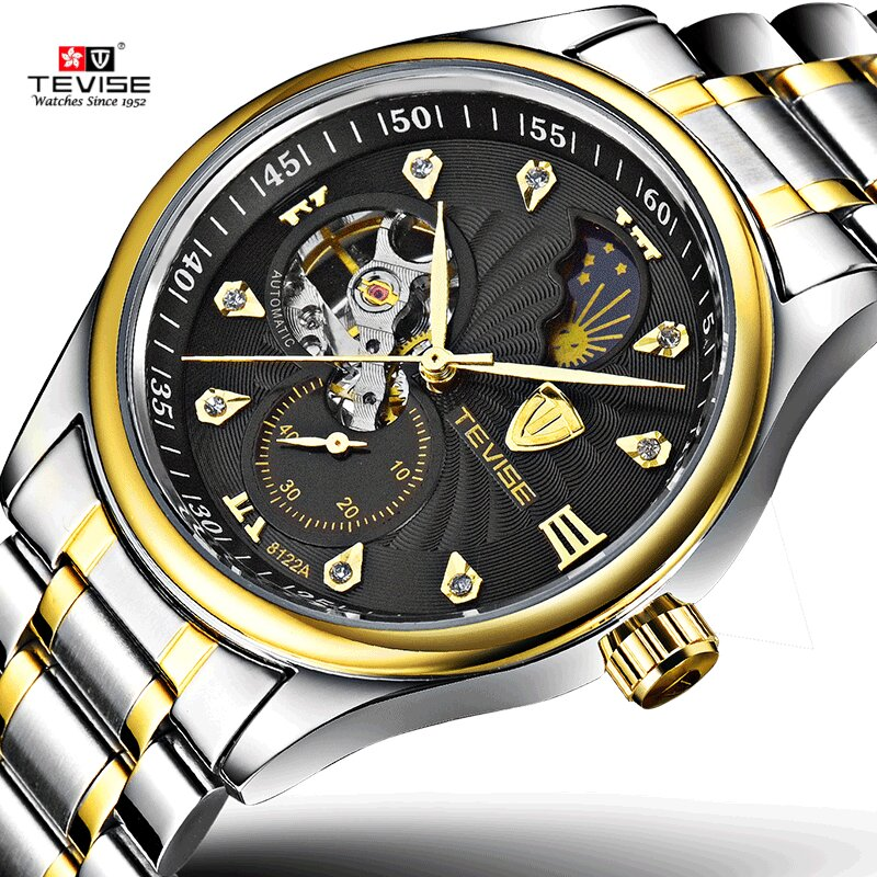 TEVISE Luxury Brand Self Wind Automatic Mechanical Men's Gold Wristwatch Full steel Band Dress Business Montre homme Male Watch все цены