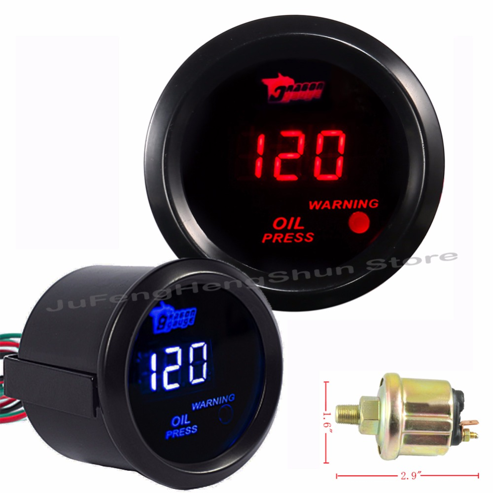 2 Inch 52mm Car Oil Pressure Gauge 0~150 Psi Digital Blue / Red Led 12v Auto Fuel Press Meter Automobile Gauges + Sensor Comfortable And Easy To Wear