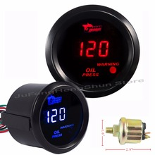 2 inch 52mm Car Oil Pressure Gauge 0~150 Psi Digital Blue / Red LED 12V Auto Fuel Press Meter Automobile Gauges + Sensor