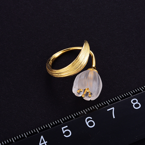Image 4 - Lotus Fun Real 925 Sterling Silver 18k Gold Ring Natural Crystal Handmade Fine Jewelry Lily of the Valley Flower Rings For Women