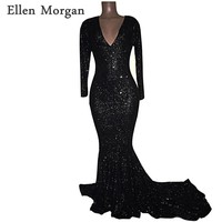 Long Sleeves Sequined Mermaid Prom Dresses 2018 for African Black Girls V Neck Zipper Sequined Vestido De Festa for Party Gowns