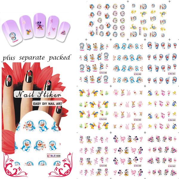 Nuevo 90 HOJA/LOT Doraemon y Ratón de Dibujos Animados Diseño Nail Art sticker etiquetas engomadas Del Clavo/de transferencia de agua Del arte Del Clavo + separado Embalado