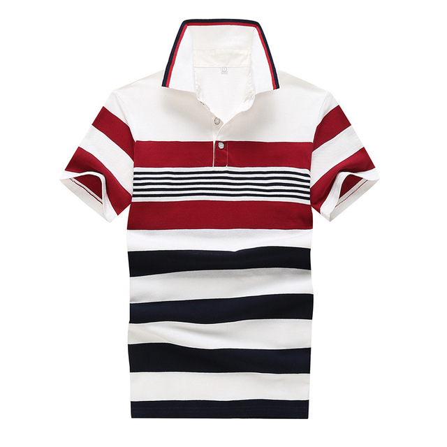 2016 Cotton Mens Polo Shirt Striped polo shirts men Fashion High Quality Plus Size Short Sleeve Solid Camisa Polo Masculina