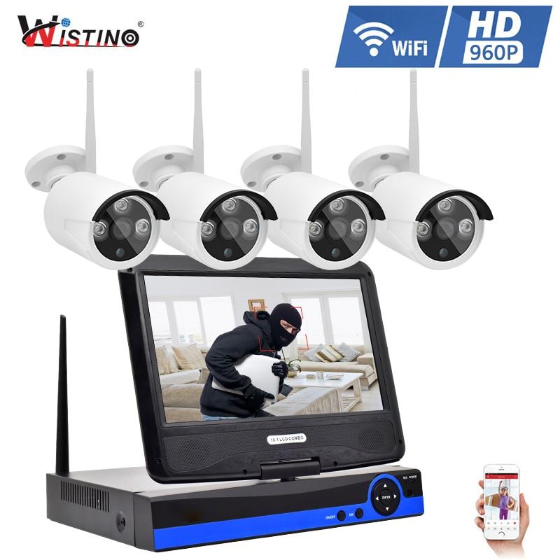 Wistino 960P CCTV System Kit Wireless 4CH NVR Security IP Camera Wifi Outdoor P2P Monitor Kits IR LCD Screen Surveillance Camera