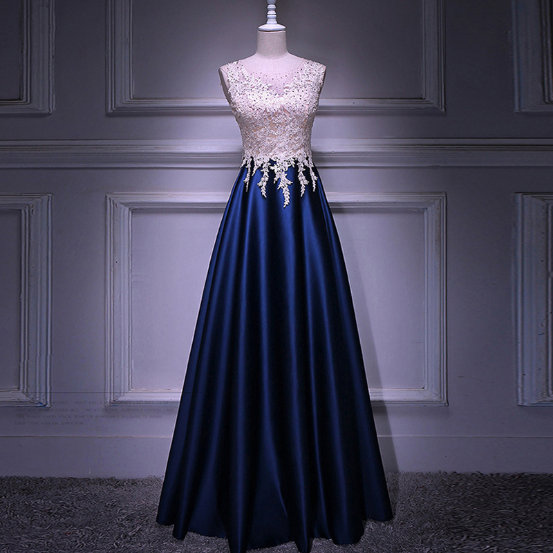 Real Image A Line Long Evening Dress Beadings Crystal Bodice Zipper Back Party Elegant 2019 Vestido De Festa New Prom Gowns