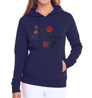 Kawaii Rose Print Hoodies Women 2017 New Arrival Funny Nothing Letter Print Sweatshirt Autumn Winter Fleece